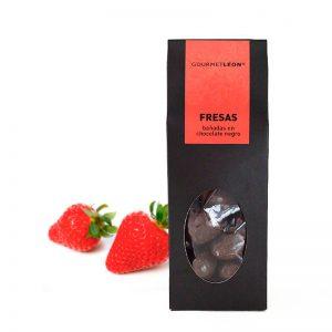 fresas con chocolate negro